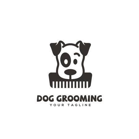 Dog grooming logo design template. Vector illustration. Logo