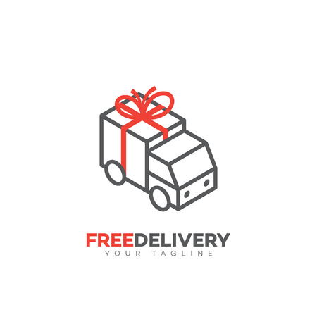 Free delivery service logo design template in linear style. Vector illustration.