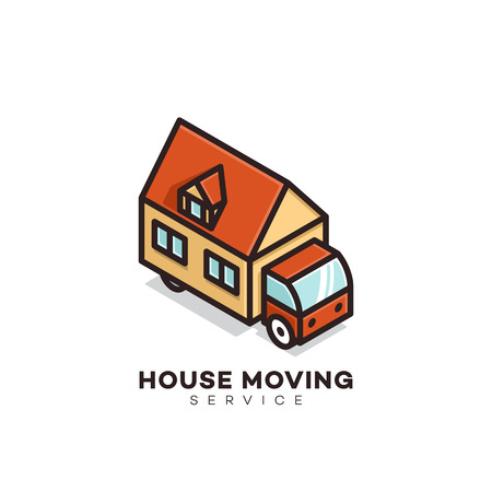 House moving service logo design template. Vector illustration.