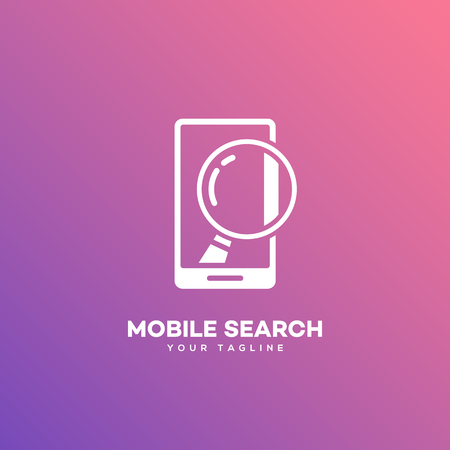 Mobile search logo design template on a smooth gradient background. Vector illustration. Illusztráció