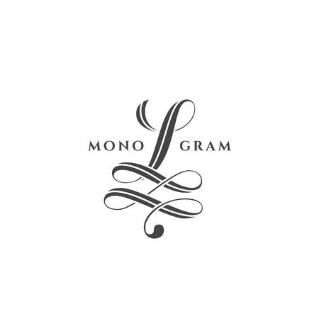Monogram design template of letter L on a white background. Vector illustration. Ilustração