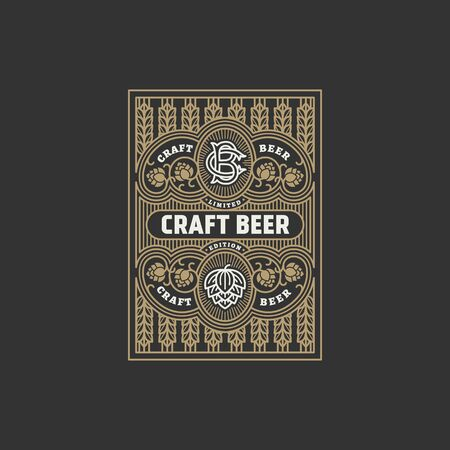 Flourishes beer label design template with hops in linear style. Vector illustration. Illusztráció