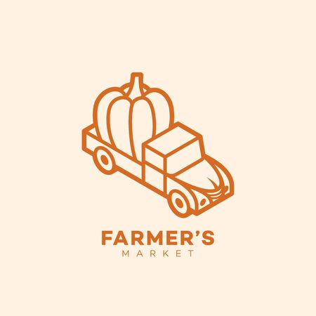 Farmers market logo design template in linear style. Vector illustration.