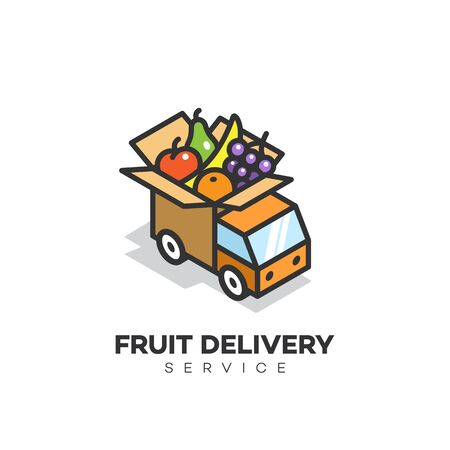 Isometric fruit delivery service logo design template. Vector illustration.