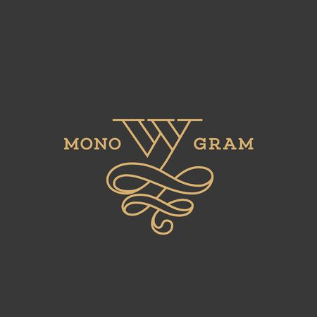 Monogram design template of letter W in linear style. Vector illustration.