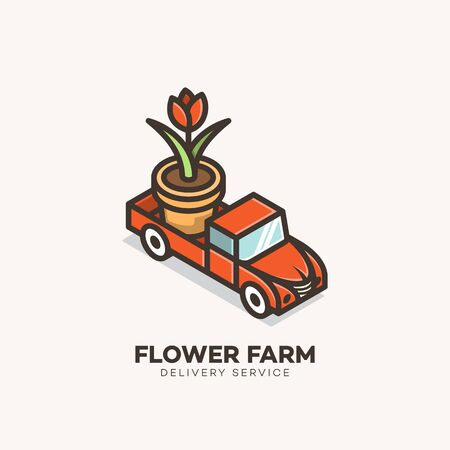 Flower farm logo design template. Vector illustration.