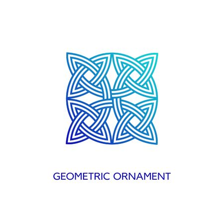 Geometric emblem design template with smooth gradient fill in linear style on a white background. Vector illustration.