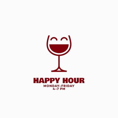 Happy hour sign design template with a smiling wineglass. Vector illustration.