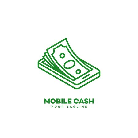Mobile cash logo design template in linear style. Vector illustration.