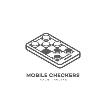 Isometric mobile checkers logo design template. Vector illustration.