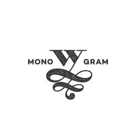 Monogram design template of letter W with stamp effect. Vector illustration. Ilustração