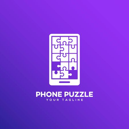 Puzzle phone logo design template. Vector illustration.