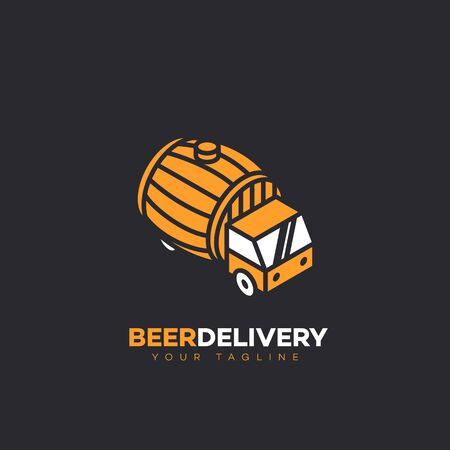 Isometric beer delivery logo design template with a barrel. Vector illustration. Çizim