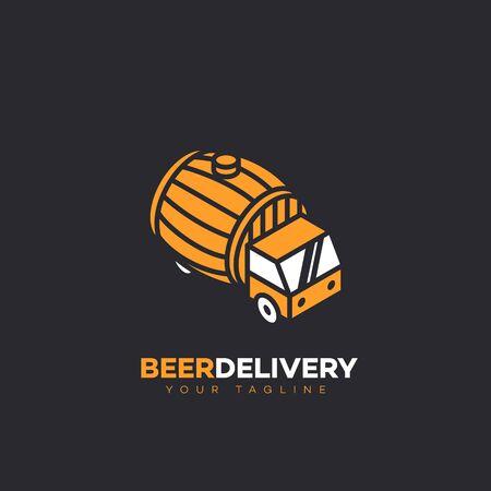 Isometric beer delivery logo design template with a barrel. Vector illustration. Ilustração