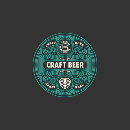 Flourishes round beer label design template with hops. Vector illustration.  イラスト・ベクター素材