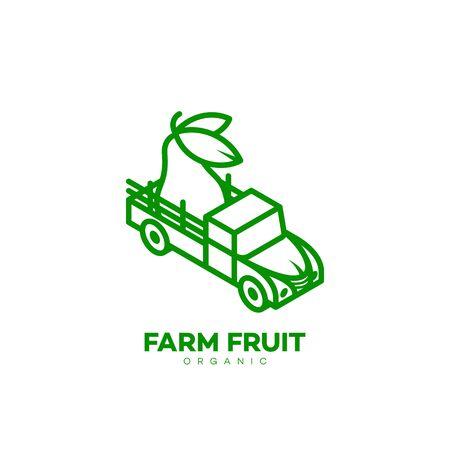 Farm fruit logo design template in linear style. Vector illustration.