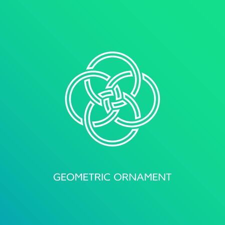 Geometric emblem design template in linear style on a smooth gradient background. Vector illustration. Ilustração