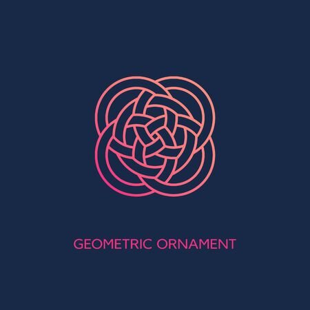 Geometric emblem design template with smooth gradient fill in linear style on a dark background. Vector illustration. Ilustração