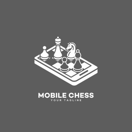 Mobile chess logo design template. Vector illustration.