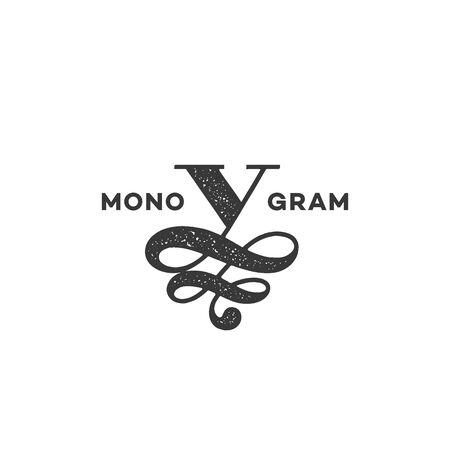 Monogram design template of letter V with stamp effect. Vector illustration. Ilustracja
