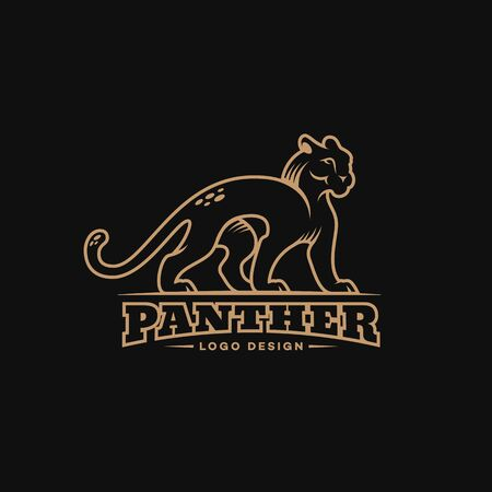 Panther logo design template in linear style. Vector illustration.