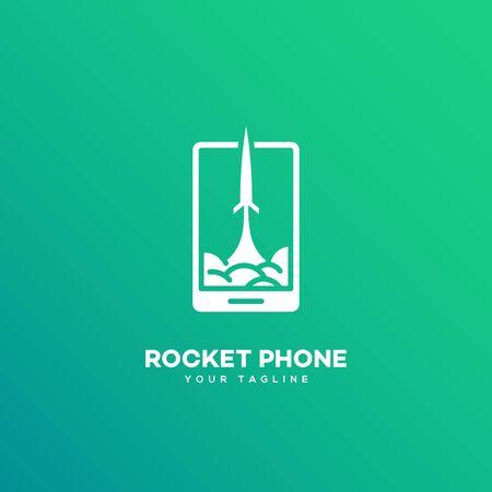 Rocket phone logo design template. Vector illustration.