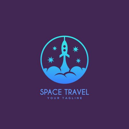 Round space travel logo design template. Vector illustration.