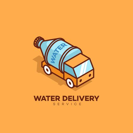 Water delivery logo design template. Vector illustration. Ilustracja