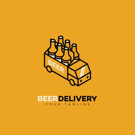 Beer delivery logo design template in linear style. Vector illustration. Vectores