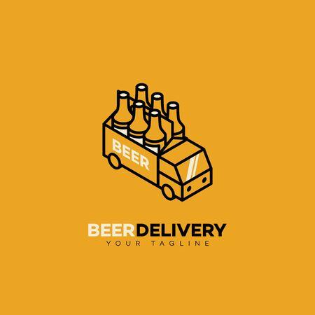Beer delivery logo design template in linear style. Vector illustration. Illustration