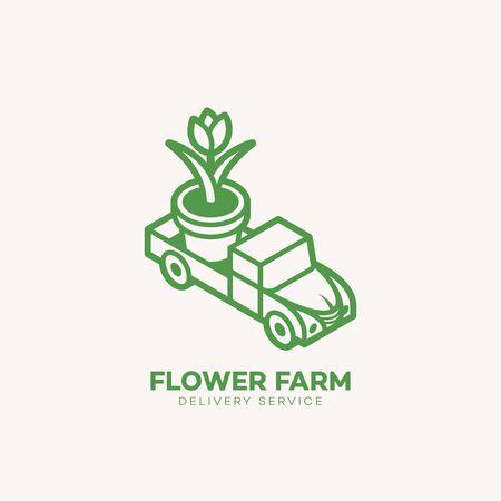 Flower farm logo design template in linear style. Vector illustration. Ilustracja