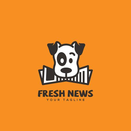 Fresh news logo design template with a funny dog. Vector illustration.