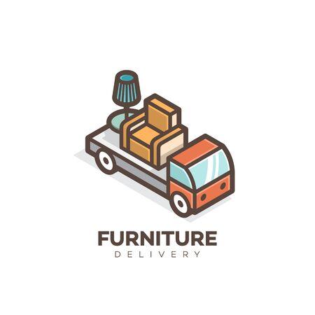 Furniture delivery logo design template. Vector illustration.