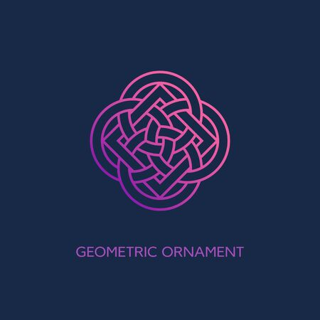 Geometric emblem design template with smooth gradient fill in linear style on a dark background. Vector illustration. Ilustracja