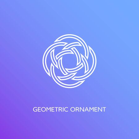 Geometric emblem design template in linear style on a smooth gradient background. Vector illustration. Ilustracja