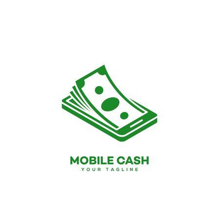 Mobile cash logo design template. Vector illustration.