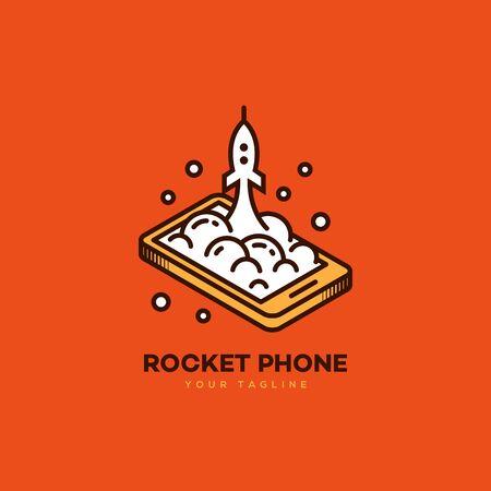 Isometric rocket phone logo design template. Vector illustration.