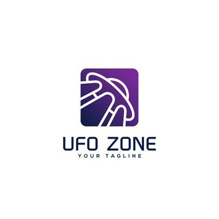 Ufo zone square logo design template. Vector illustration. Иллюстрация
