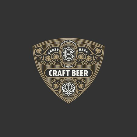 Flourishes beer label design template with hops. Vector illustration.  イラスト・ベクター素材