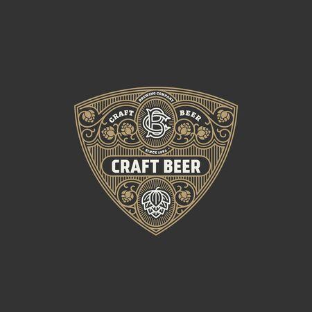 Flourishes beer label design template with hops. Vector illustration. 向量圖像