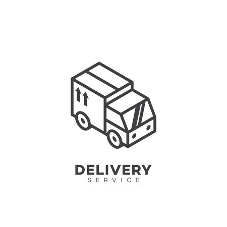 Delivery service logo design template in linear style. Vector illustration.