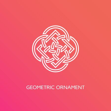 Geometric emblem design template in linear style on a smooth gradient background. Vector illustration. 向量圖像