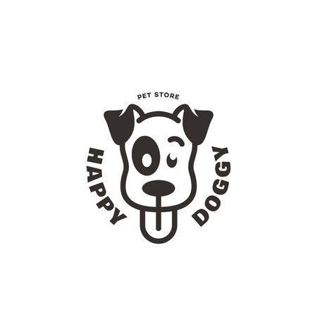 Happy doggy logo design template. Vector illustration.