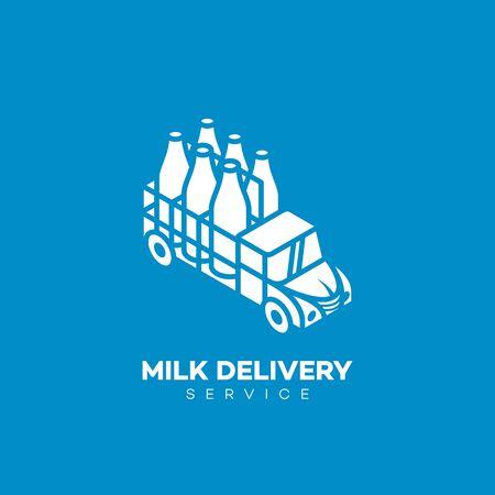 Milk delivery service logo design template. Vector illustration. Ilustração