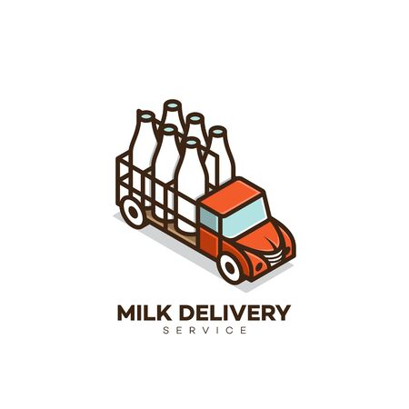 Isometric milk delivery service logo design template. Vector illustration. Stock Illustratie