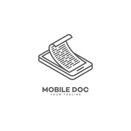 Mobile doc logo design template in linear style. Vector illustration.