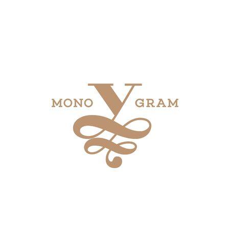 Monogram design template of letter V. Vector illustration. Ilustração