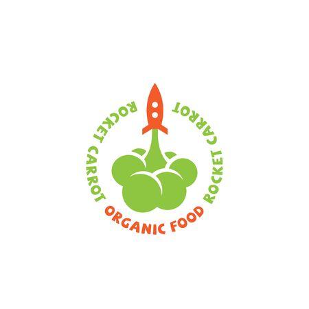 Rocket carrot logo design template. Vector illustration. Ilustração