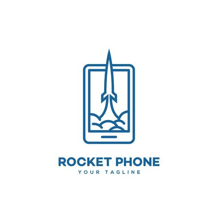 Rocket phone logo design template in linear style. Vector illustration.