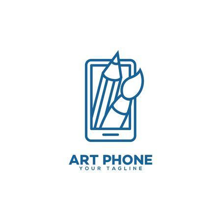 Art phone logo design template in linear style. Vector illustration. Ilustração